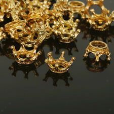 50pcs Gold Plated Crown Beads DIY Charm Spacer Beads Bracelet Jewelry Making