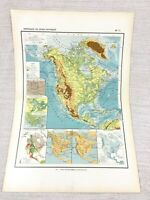 1888 Antik Map Of North America USA Kanada Physical Geography Französisch 19th C