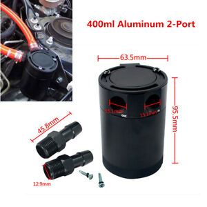 400ml Aluminum 2-Port Oil Catch Can Tank Reservoir Air Oil Separator Car Baffled