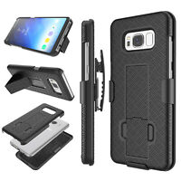 Samsung Galaxy S7 S8 S9 Plus Phone Case Belt Clip Holster Stand Cover +Kickstand