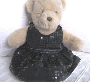 Teddy Bear Clothes, Handmade Norah Black Sequin Look Dress