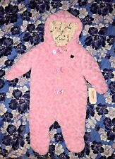 $98 NWT Juicy Couture Pink Snowsuit Baby Girl 3-6 Months Rose pattern fleece