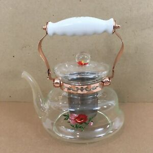 Europe Ware Direct Heating Copper Porcelain Handle Infuser Clear Glass Tea Pot