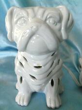 """Porcelain Bulldog Night Light Table Dog Lamp White Ceramic 7"""""""