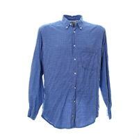 Levis Herren Langarmhemd Größe M Shirt Karo Kariert Muster Blau Button Down