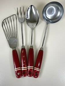 1950s 60s Vintage Skyline Red Wooden Handle 4 Piece Kitchen Utensils Kitchenalia