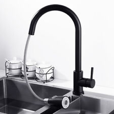 Single Handle Kitchen Sink Faucet With Pull Out Sprayer Matte Black Colors Mixer