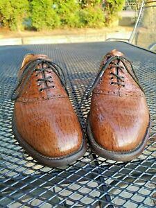 Exotic Footjoy genuine SHARKSKIN saddle oxford shoes, US 10.5D, light brown