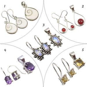 925 Silver Earrings Pendants Real MOONSTONE Womens Jewelry Wholesale Lot New Set