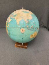 """Vintage Rare Weber Costello Co. 12"""" Peerless World Globe With Wooden Stand"""