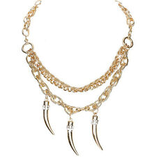 ITALIAN HORN Gold Pave Crystal Cz Statement Dangle Rope Curb Link Chain Necklace