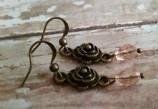 Bronze dangle earrings, pink crystal, rose, petite dangles handmade in USA