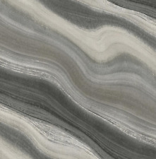 Modern Wallpaper in Black Silver and Gray Waves Inspired by the Tides and Ocean