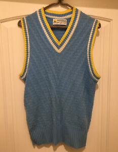 Vintage 70s John Newcombe Blue Interwoven Sweater Vest Medium Mustache