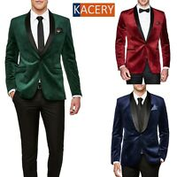 Mens Red Blazer Slim Fit Velvet Formal Smart Dinner Jacket New -BL100