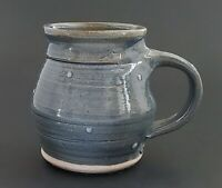 Handcrafted Studio Pottery Mug Blue with White Hobnail Stoneware 4""