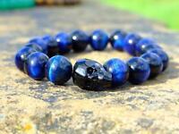 Men's Blue Tigers Eye Skull Bracelet with Swarovski Crystal 6-9inch Elasticated