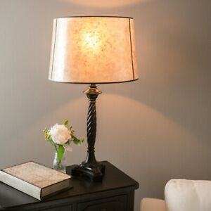 10-in x 15-in Blonde Mica Stone Drum Lamp Shade