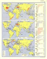 WORLD. Maize, Sago & Dates; Cane sugar, Beet & Cacao; Vine & Fruits 1962 map