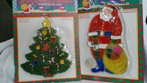 Santa Claus & Christmas Tree  WINDOW SUN CATCHER CHRISTMAS ORNAMENT Vintage