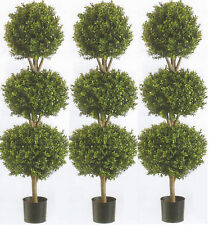 Three 66 inch Artificial Boxwood Triple Ball Topiary Tree Plant Bush Palm Flower