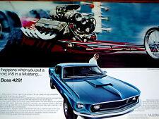1969 FORD MUSTANG BOSS 429 ORIGINAL DRAGSTER AD-V8 engine/302/GT/vtg/poster/sign