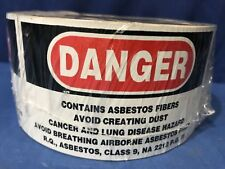 DANGER CONTAINS ASBESTOS FIBERS 5 inch x 3 inch Warning Sticker Label 500/roll
