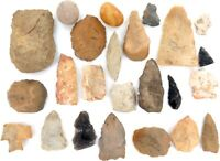 .ARCHAIC PALEO NATIVE AMERICAN INDIAN SPEARHEADS, ARROWHEADS, SCRAPERS, BOLO'S.