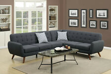 Simple Modern Sectional sofa Set Loveseat Wedge Ash Black Fabric Wooden legs