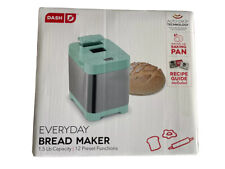 Dash Everyday Stainless Steel Bread Maker, Up to 1.5lb Loaf, 12 Settings Aqua