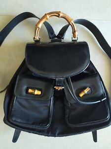 Vintage Gucci Black Bamboo Backpack