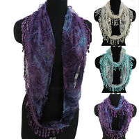 Butterfly Pattern Animal Scarf Tie-Dye Shred Lace Fringed Womens Infinity Scarf