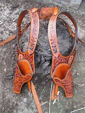 D.A.D CUSTOM LEATHER  Hand Tooled Western Double Shoulder Holster