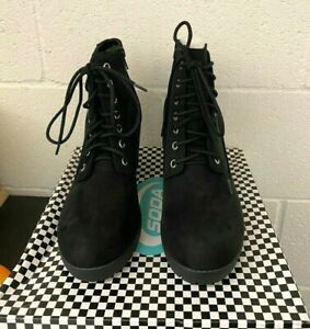SECOND-S PLATFORM BLACK SUEDE ANKLE BOOTIE CHUNKY HEEL LACE UP