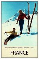 Skifahrer Pyrenäen Fankreich Blechschild Schild gewölbt Tin Sign 20 x 30 cm