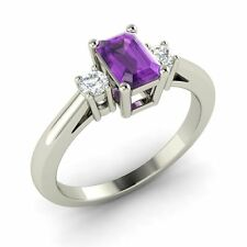 Three Stone Engagement Ring with 0.57 Cttw Amethyst in Solid 14k White Gold