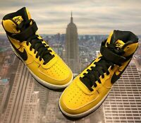 Details about NIKE AIR FORCE 1 HIGH '07 LTHR LEATHERSTRAP AT4963 700 YELLOW OCHREBLACKWHITE