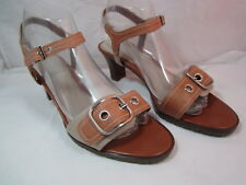 "Womens Fioni Brown Tan Sandals Shoes Size 8.5M   2 1/2"" Heel"