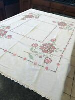 """Vintage Red Flowers Embroidery Cross Stitch Rectangular Table Cloth 44"""" x 53"""""""