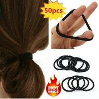 50pcs Women's Elastic Black Hair Rope Ties Band Ponytail  Holder Accessories