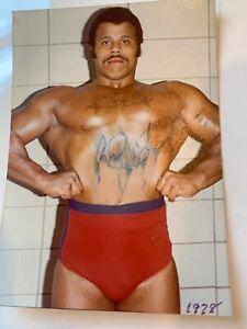 ROCKY JOHNSON Vintage Signed Memphis Wrestling Photo Autograph DWAYNE THE ROCK