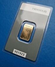 Goldbarren 5g 5 g Gramm HERAEUS 901923 Gold +Blister Rückseite Hologramm kinebar