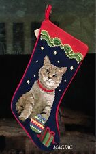 Cat Needlepoint Christmas Stocking NWT
