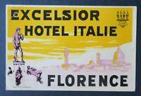 Ancienne étiquette valise HOTEL EXCELSIOR Florence Italie old luggage label