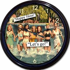 Beach Girls Wall Clock Happy Hour Buffett Margaritaville Liquor Beer Cocktail