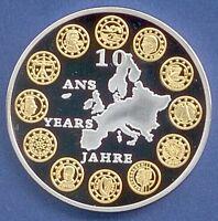 Medaille 10 Jahre Years Ans Europa Euro Bimetall Ø 40 mm 26 Gr. B60/19
