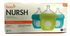 New listing Boon Nursh Silicone Pouch Stage 1 Baby Bottles Blue Green 4 Oz 3 Pack