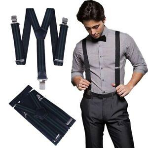 Men's X Shape Braces Adjustable Stripes Suspenders Strong Clips Heavy Duty 40mm