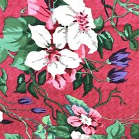 """Floral Fabric Raspberry Pink Green Cream 3 yds x 52.5"""" Cotton Quilts Sewing"""