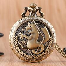 Retro Fullmetal Alchemist Copper Children Women Pocket Watch Pendant Necklace